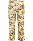 Marni Printed Satin-Twill Straight-Leg Pants - Lyst