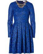 Matthew Williamson Brocade Embellished Collar Dress In Cobalt - Lyst