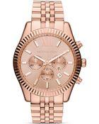 Michael Kors Mens Rose Gold Tone Lexington Chronograph Watch 45mm - Lyst