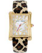 Betsey Johnson Womens Leopardprint Patent Leather Strap 33x29mm 08 - Lyst