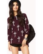 Forever 21 High-Low Cross Sweater - Lyst