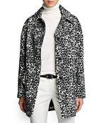 Mango Leopard Print Oversize Coat - Lyst