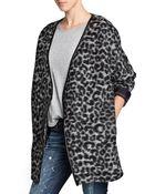 Mango Leopard Print Woolblend Coat - Lyst