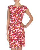 Donna Morgan Geometricprint Drape Dress Roseberrymulti - Lyst