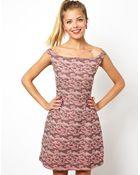 Asos Asos Pretty Jacqaurd Bardot Prom Dress - Lyst