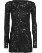 Donna Karan New York Sequin Cashmere Top - Lyst