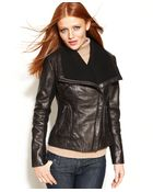 Michael Kors Leather Knit-trim Motorcycle Jacket - Lyst