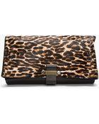 Lanvin Black Leopard Print Calf Hair Foldover Swag Clutch - Lyst