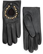 Mango Touch Leather Studded Gloves - Lyst