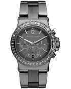 Michael Kors Midsize Gunmetal Stainless Steel Dylan Chronograph Glitz Watch - Lyst