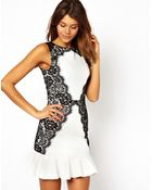 TFNC Tfnc Dress with Lace Side and Fluted Hem - Lyst