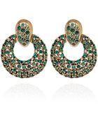 Oscar de la Renta Green Crystal Circle Clipon Earrings - Lyst