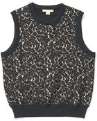 Michael Kors Cashmere Lace Front Shell - Lyst