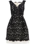 Oscar de la Renta Contrast Floral Dress - Lyst