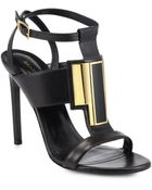 Saint Laurent Janis Leather Medallion Sandals - Lyst