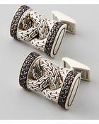 John Hardy Classic Chain Black Sapphire Cuff Links - Lyst