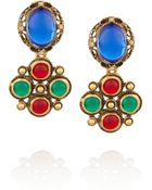Oscar de la Renta Gold Plated Cabochon and Crystal Clip Earrings - Lyst