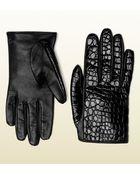 Gucci Black Crocodile Womens Gloves - Lyst