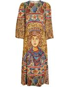 Dolce & Gabbana Mosaic Printed Crepe Column Dress - Lyst