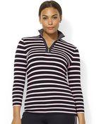 Lauren by Ralph Lauren Plus Three Qarter Sleeved Half Zip Mock Neck Top - Lyst