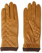 Agnelle Mustard Half Quilted Leather Gloves - Lyst