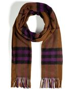 Burberry Cashmere Giant Check Icon Scarf in Dark Camel - Lyst