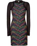 M Missoni Cotton Blend Long Sleeve Multicolor Patterned Knit Dress - Lyst