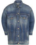 Mango Dark Wash Oversize Denim Jacket - Lyst
