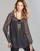 Free People Top Printed Penny Georgette Feather in The Wind - Lyst