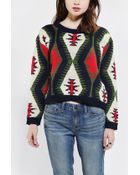 Urban Outfitters Reverse Intarsia Cropped Sweater - Lyst