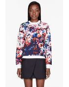MSGM Blue and Pink Flower Sweatshirt - Lyst