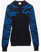 Torn By Ronny Kobo Zebra Stripe Sweater Black - Lyst