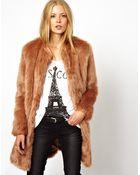 Asos Longline Lux Fur Coat - Lyst