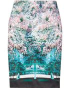 Mary Katrantzou Palma Printed Satin Pencil Skirt - Lyst