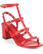 Valentino Rouge Leather Rockstud Sandals - Lyst