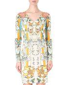 Roberto Cavalli Floral Printed Crepe Dress - Lyst