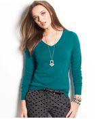 Ann Taylor Merino Wool Vneck Sweater - Lyst