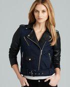 MICHAEL Michael Kors Denim Moto Jacket with Leather Sleeves - Lyst