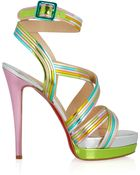 Christian Louboutin Meteorita 140 Metallic Leather Sandals - Lyst