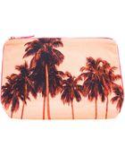 Dezso By Sara Beltran Flamingo Palms Cotton Canvas Pouch Clutch - Lyst