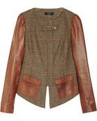 Suno Houndstooth Tweed and Leather Peplum Jacket - Lyst