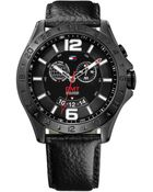 Tommy Hilfiger Men'S Gmt Black Leather Strap Watch 46Mm 1790972 - Lyst