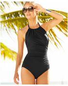 Badgley Mischka Ruched High-neck One-piece Swimsuit - Lyst