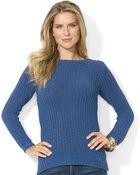 Lauren by Ralph Lauren  Long Sleeve Marled Boat Neck Sweater - Lyst