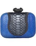 Khirma Eliazov Batasha Python Stingray Clutch Bag Bluegray - Lyst