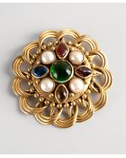 Chanel Pre-Owned: Gold Jewel And Faux Pearl Coiled Vintage Pin - Lyst