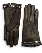 Portolano Leather Rhinestone Gloves - Lyst