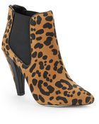 Dolce Vita Fife Leopard Print Suede Ankle Boots - Lyst