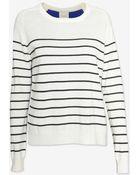 Mason by Michelle Mason Silk Back Striped Cashmere Sweater - Lyst
