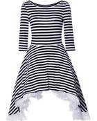 Natasha Zinko Striped Dress with Side Draped Skirt - Lyst